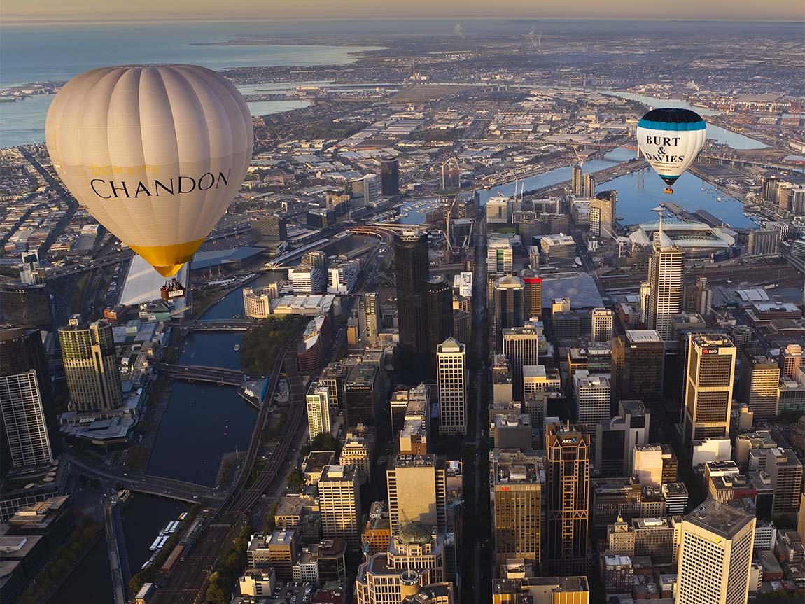 Ballooning over Melbourne, Victoria, Australia. Photo: Richard I'Anson for Global Ballooning